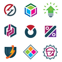 Protect computer logo cool icon set