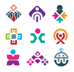 Colorful people in happy business logo and icon set