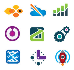 Progress startup business in economy and life logo and icon set