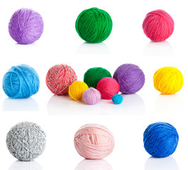 collection of wool knitting on white background.