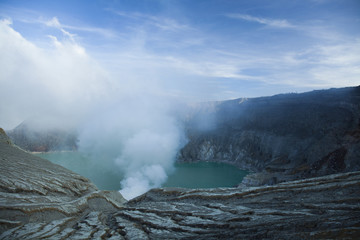 Crater of volcano Ijen, Java, Indonesia
