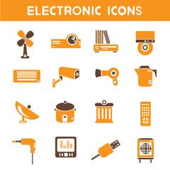 electronic icons, orange color theme