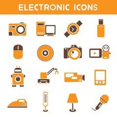 electronic icons, orange color theme