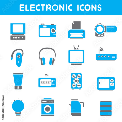electronic icons, blue color theme
