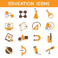 education icons, school icons, orange color theme icons