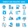 energy icons, industry icons, power icons, blue color theme