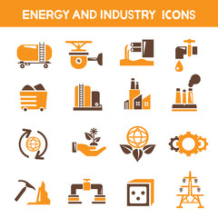 energy icons, industry icons, power icons, orange color theme
