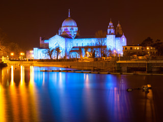 Galway Cathedral lit up blue