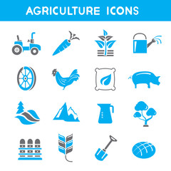 agriculture icons, blue color theme