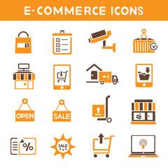 e commerce icons, orange color theme icons