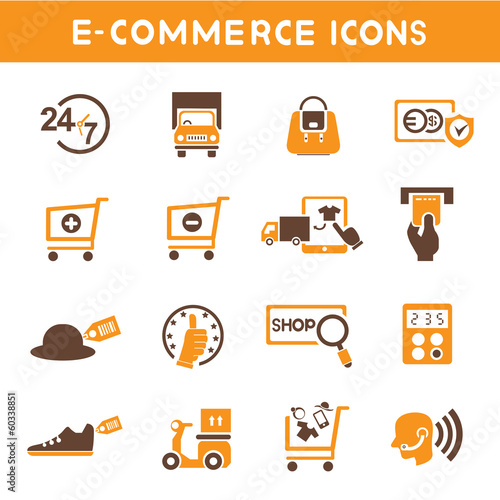 e commerce icons, orange color theme icons