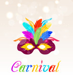 Colorful carnival mask with feathers with text