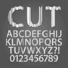 Vertical Paper Cut Alphabet and Digit Vector