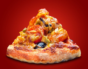 Pizza slice with seafood