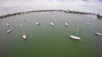 Flying over sail boats