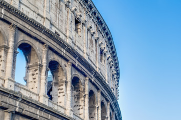 The Colosseum, an elliptical amphitheatre in Rome, Italy