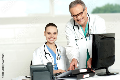 Two cheerful doctors at hospital