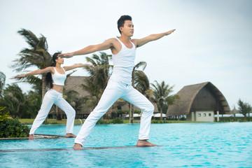 Exercises near pool