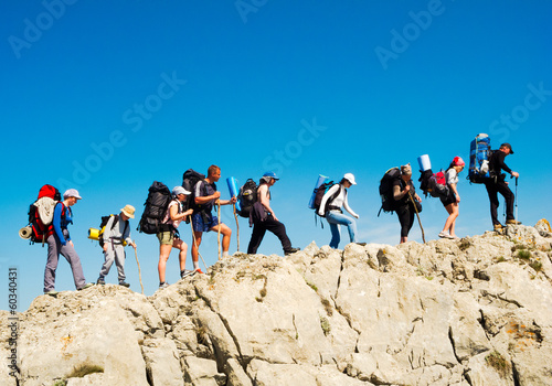 Hikers group trekking in Crimea