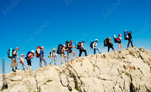 Hikers group trekking in Crimea - 60340432