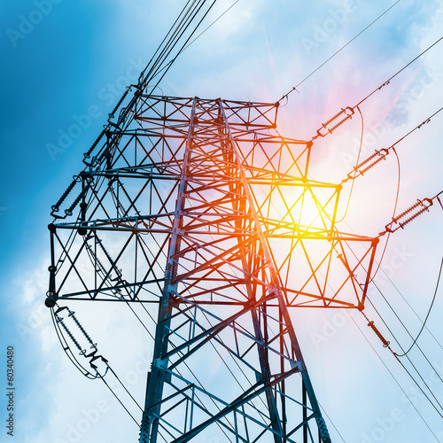 canvas print picture high voltage transmission pylon closeup