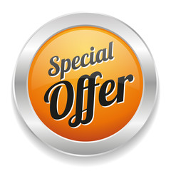 Yellow round special offer button with metallic border