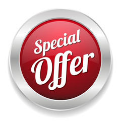 Red round special offer button with metallic border