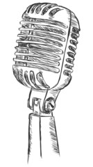vector sketch illustration - variety microphone