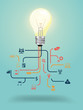 Vector creative light bulb with education icon concept design