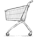 vector sketch illustration - trolley for shopping