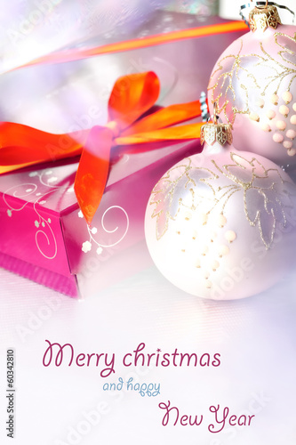 Christmas composition with gift box and decorations, postcard