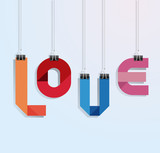 i love you paper with clip vecrot