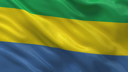 Flag of Gabon waving in the wind - seamless loop