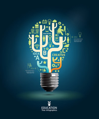 Creative light bulb Abstract infographic Design  template / can