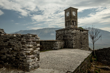 Clock tower in  old city of Gjirokastra, Albania