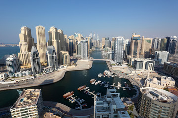 Dubai Marina high angle view. United Arab Emirates