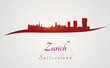 Zurich skyline in red