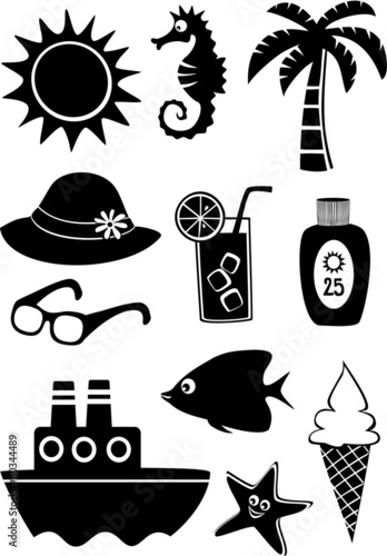Set of black and white summer icons