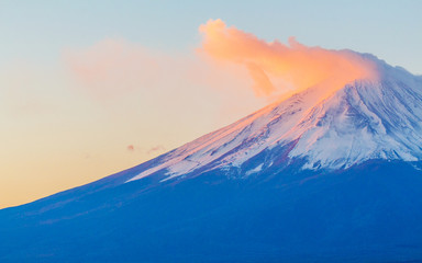 Mountain Fuji in Japan during sunset