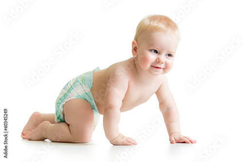 funny crawling baby boy isolated on white background