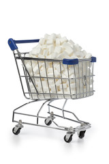 Shopping cart with sugar cubes