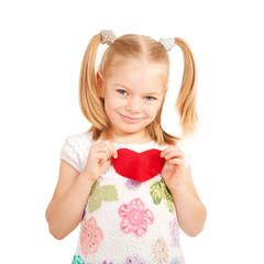 Little smiling child holding Felt heart.