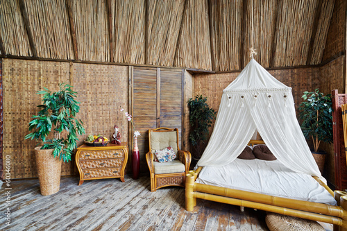 Interior of house made of bamboo
