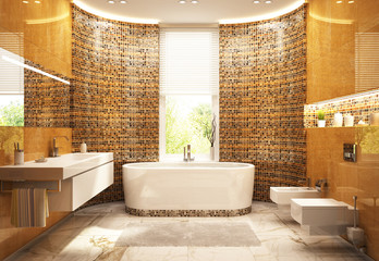 Modern gold bathroom in house
