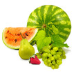 watermelon, strawberry, grape, pear on a white background