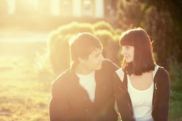 young beautiful romantic couple ...