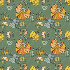 Color Oriental floral Seamless PAttern