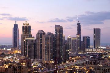 Dubai Downtown at dusk. United Arab Emirates