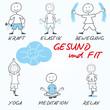 Comic gesund fit sportlich