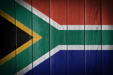 south Africa flag on wood texture background